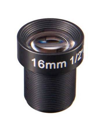AC12B1618IRM12MM - MOQ 100pcs S-Mount lens, 16mm, M12, 1/2'', F1.8, 4MP