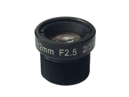 ACHF1225FM - MOQ 100pcs S-Mount lens, 12mm, M12, 2/3'' , F2.5, 10MP 200lp/mm