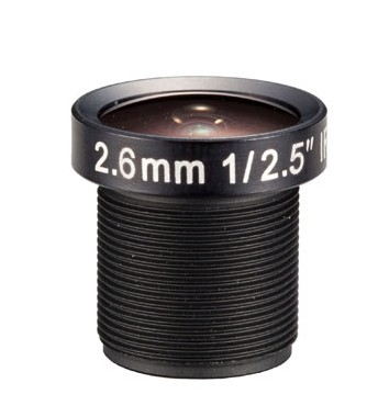 ACM125B02620IRM12MM - MOQ 100pcs S-Mount lens, 2.6mm, M12, 1/2.5'', F2.0, MP