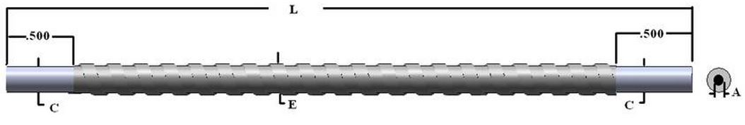 BXUH890 - Single flexible fiber optic, length=90 in. active fiber diameter .125 in. Stainless steel sheath