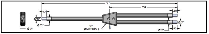 EP4036 - Dual branch Plastic fiber optics, length=36 in. active fiber diameter 0.040.