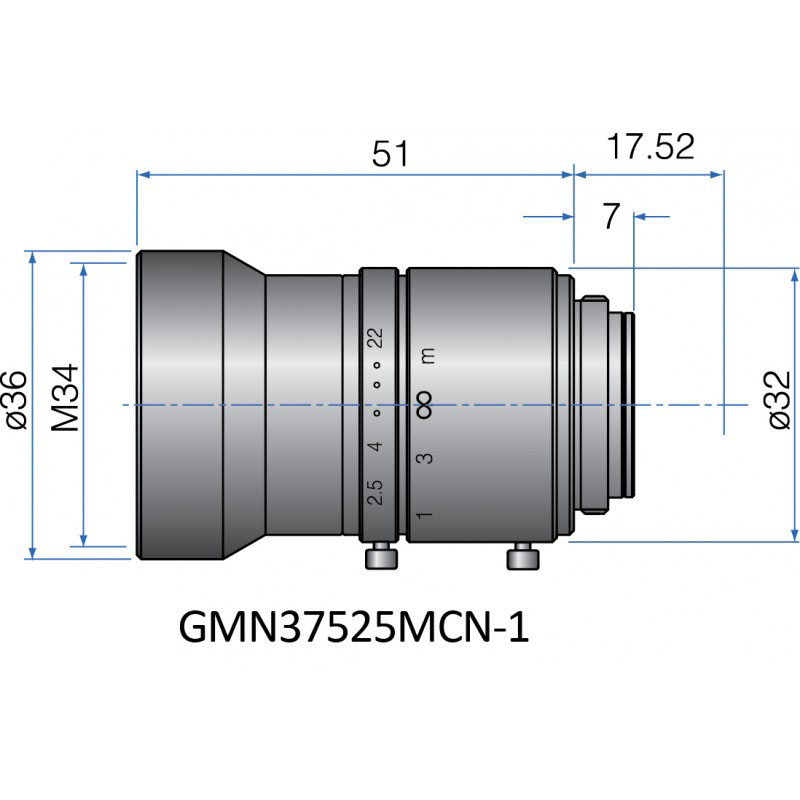 GMN37525MCN-1 - FIX FOCAL LENGTH LENSES 2/3